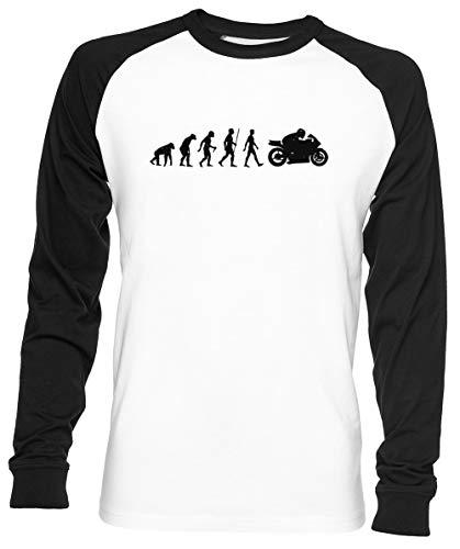 Evolución De Moto Unisex Hombre Mujer Béisbol Camiseta Blanco Unisex Baseball T-Shirt