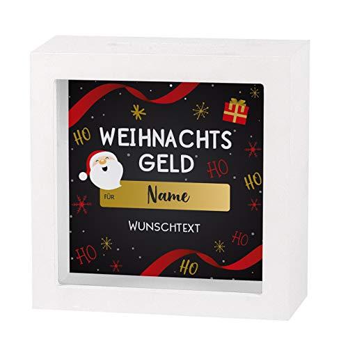 Herz & Heim® Bilderrahmen-Spardose - Weihnachtsgeld für - mit Personalisierung
