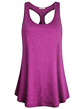 Workout Clothes for Women,SeSe Code Lady Moisture Wicking Shirts Sleeveless Tops Scoop Neck Henley Racerback Flare Bottom Knotted Back Daily Comfy Wear Cool Fashionable Pull Over Tunic Rose Red Large