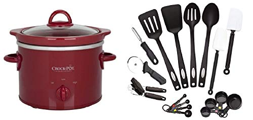 2 Qt Slow Cooker - Red + Classic 17-Piece Tool and Gadget Set