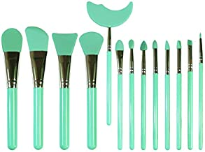 LORMAY 13 Pcs Silicone Makeup Brush Set, Mascara Shield and Eyeshadow Shield. Perfect Applicators for BB CC Cream, Facial Mask, and Liquid-like Beauty Products (Mint Green)