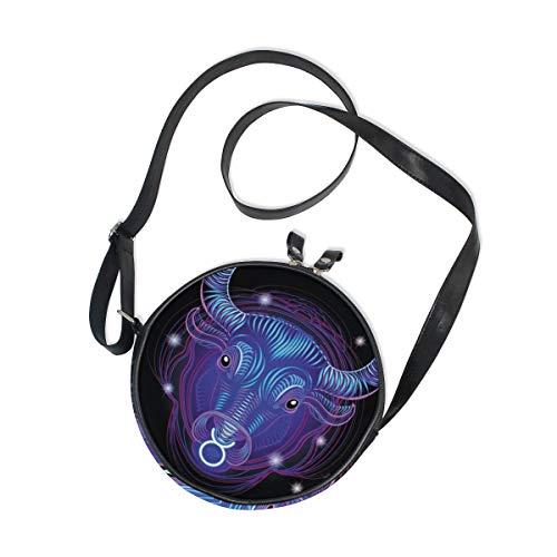 Constellation Zodiac Signs Taurus Round Crossbody Bag Messenger Purse