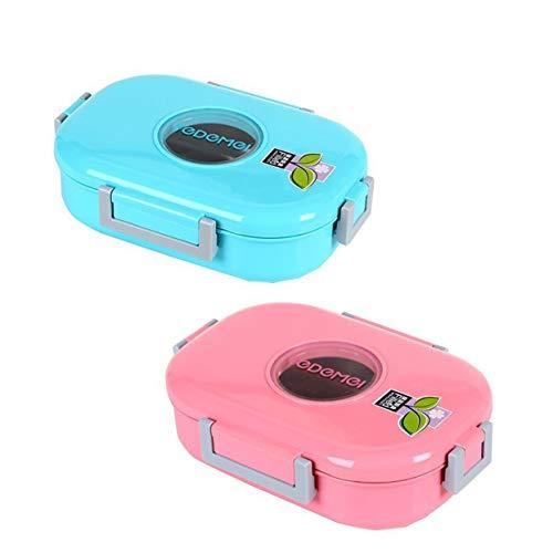 Lunch Bento Box Bambini Adulto Acciaio Inossidabile Singolo Strato Portatile A Tenuta Stagna Versatile BPA -free E Materiali Per Alimenti 2pz,Blue pink