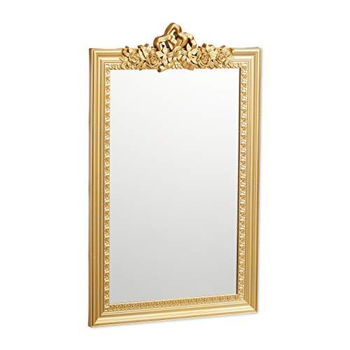 Relaxdays Espejo barroco de pared, Diseño barroco, Colgante, Dorado