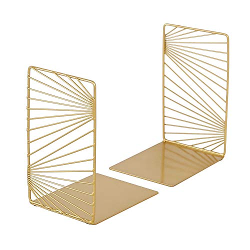 zennd. Gold Decorative Bookends - 2pc Modern Design Book Stopper Set | Metal Book Ends for Office,...