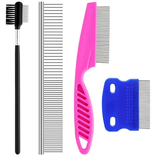 GUBCUB Pets Grooming Comb Kit for Small Dogs Puppies, Tear Stain Remover Comb, 2-in-1 Dog Combs with Round Teeth to Remove Knots Crust Mucus