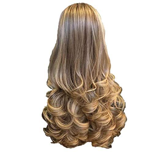 postizos de pelo natural coleta rizado,fiosoji Peluca de pelo largo y rizado de damas de la moda media europea y americana. (56cm, Oro)
