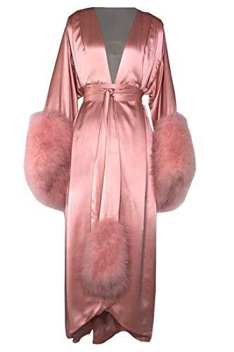 ShineGown Damen Robe Fell Nachthemd Bademantel Nachtwäsche Feder Braut Morgenmäntel mit Gürtel Extra Lange
