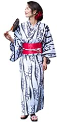 [Contents of Set] Yukata Robe, Obi Sash (Pre-tied), Geta (Sandals) How-To-Wear Manual (Pamphlet) Ready-Made Set of 4 Items Recommended for beginners. Pre-tied obi bow can be put on without help [Material] Yukata: 100% Cotton, Obi: 100% Polyester, Get...
