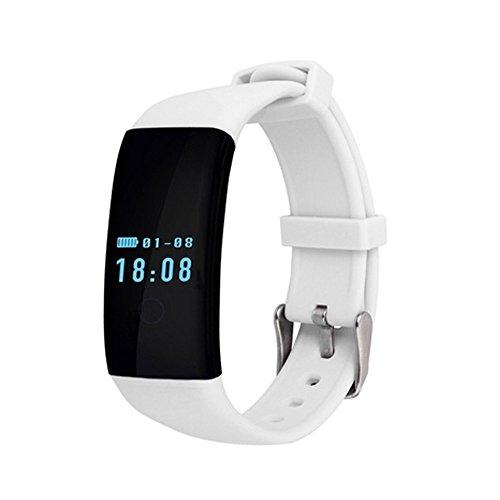 Moaeuro - Braccialetto da polso Bluetooth D21, con cardiofrequenzimetri, per iOS, Android, colore: nero, bianco, rosa, viola (bianco)