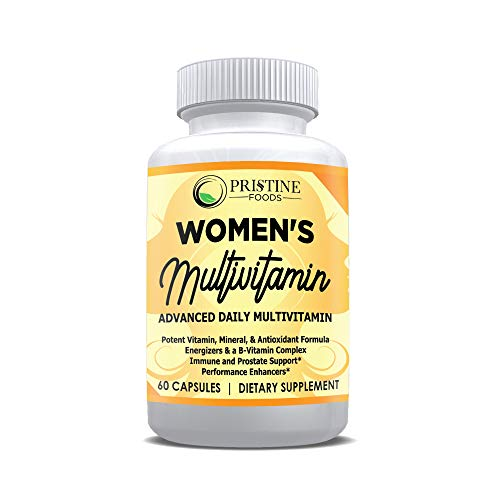 Pristine Foods Multivitamin for Women with Biotin + Folic Acid + B12 + Calcium + Magnesium - Women's Daily Vitamins & Multi-Mineral Complex - Packed Full of Antioxidants & Energy Boosting Fruit