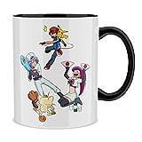 OKIWOKI Taza con asa Negra e Interior Negro Parodia de Pokémon- Pikachu, Ash Ketchum y la Team Rocket (Taza de Primera...