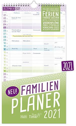 FamilienPlaner 2021 mit 5 Spalten, 23 x 42 cm | Wandkalender Jan - Dez 2021 | Familienkalender Wandplaner: Ferientermine, viele Zusatzinfos + Vorschau bis März 2022 | nachhaltig & klimaneutral