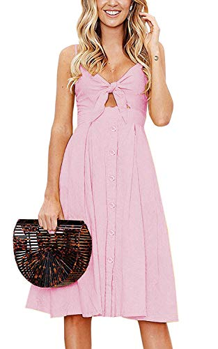 Yidarton Womens Dresses-Summer Spaghetti Strap Tie Front Button Down Sexy Backless Midi Dress (Large, Pink)