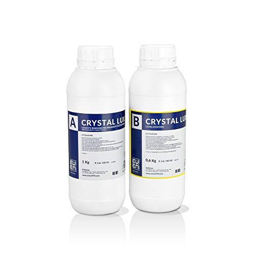 EVEN Resina Epossidica Atossica Trasparente Crystal Lux 1,6 Kg, Effetto Acqua, Lucida, Creazioni Artistiche, DIY