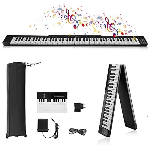 Pieghevole Pianoforte Digitale 88 Tasti,Vogvigo Pianoforte Portatile Pieghevole,Tastiera Semi-Pesata a Grandezza Naturale con 128 toni / Bluetooth / Pedale Sustain / APP Intelligente,Per Principianti