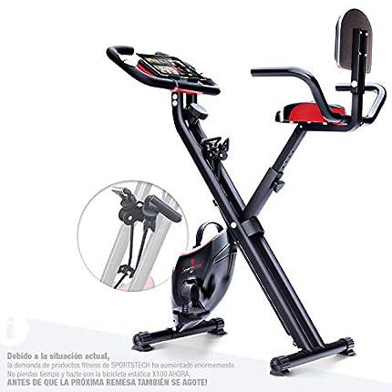 Sportstech Bicicleta Estática con Consola LCD y Cuerdas de Resistencia | Marca alemana de calidad | Bicicleta Plegable para el Hogar con Asiento cómodo y Sensores de pulso | Gimnasio en Casa | X100-B