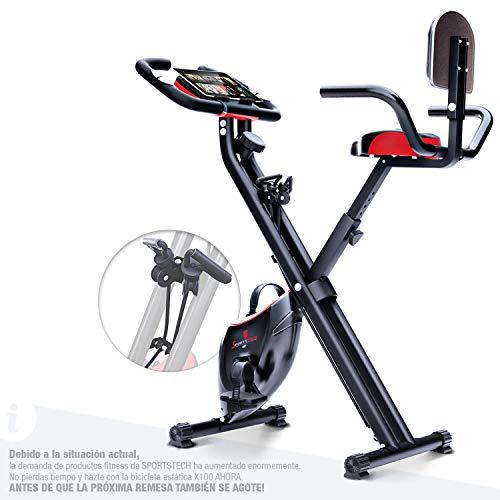 Bicicleta estática plegable Sportstech F-Bike X100-B con sistema de resistencia inteligente, respaldo de inercia de 4kg, soporte para tableta, 4 niveles de resistencia magnetica, pulsometro integrado