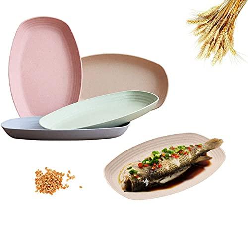 piatti plastica,Piatto ovale in Piatto di Paglia di Grano, Piatti ecologici-Lavabili in lavastoviglie e Adatti al microonde BPA gratuiti e salutari,4 Pezzi Piatti Unbreakable
