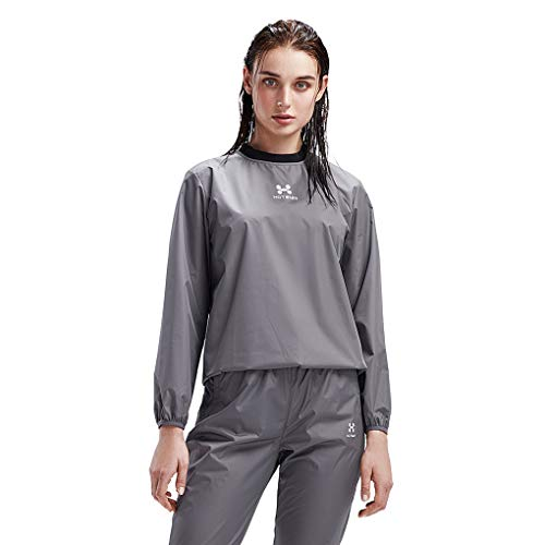 HOTSUIT Sauna Suit Women Weight Loss Gym Workout Tracksuit Sweat Suits, Grey, M