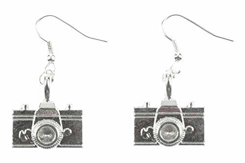 Miniblings pendientes de la camara de la camara del fotografo Fotografía plata 2cm - Me pendientes joyería hecha a mano de la moda pendientes de plata