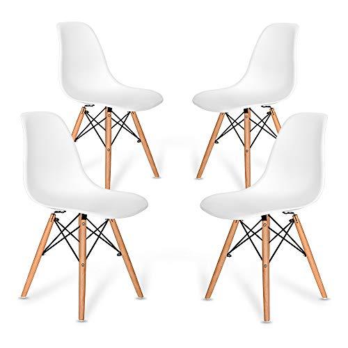 VADIM Chaise Design Salle Manger Lot de 4 Blanches