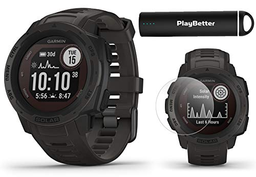 Garmin Instinct Solar (Graphite) Power Bundle | +PlayBetter 2200mAh Portable Charger & HD Screen Protectors | Rugged, Heart Rate | Solar Charging | Ultimate Outdoor GPS Watch