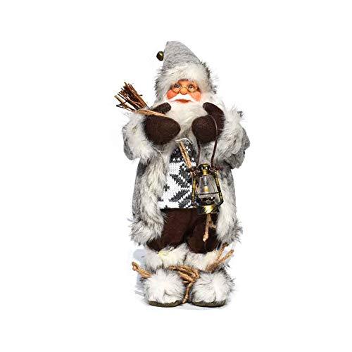 LINAG Papá Noel Muñeca para Navidad Decoración, Perchero De Arpillera Decoración De Figura Grande Papá Noel para Niños Regalo De Cumpleaños, D,30CM