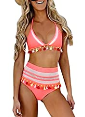 Tassel Front with High Waist Bottom Paddes Swimsuit Make your beach holiday with fun and happiness in sexy bikinis Wash it by hand in 30-degree water, hang to dry in shade, prohibit bleaching. Dokotoo Womens High Waist Two Pieces Bikini Set Striped T...