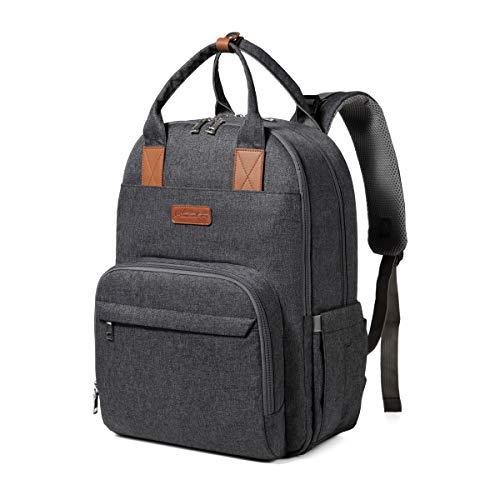 Mochila para cambiar pañales, mochila de moda con mochila para pañales de bebé de gran capacidad con puerto de carga USB para bebés