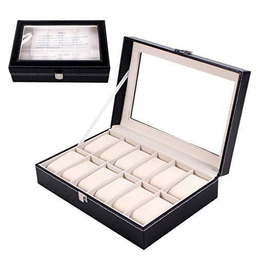 WXDP Caja automática para reloj, caja para mujer con vitrina de almacenamiento de exhibición de cristal