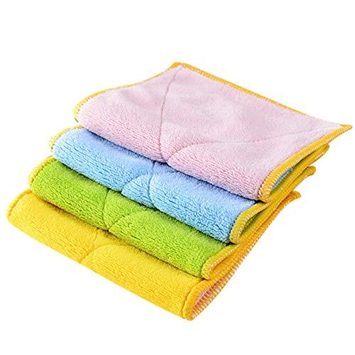 Toallas de cocina 4 toallitas a prueba de aceite, toallas de fibra...