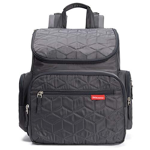 Bebamour Baby Wickelrucksack Wickeltasche mit Wickelunterlage Multifunktional Große Kapazität Babytasche Reisetasche für Unterwegs (Grau)