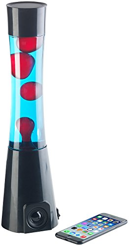 Lunartec Deko Lichter: Lavalampe rot/blau mit 10-Watt-Lautsprecher, Bluetooth 5.0 und AUX-In (PC Lampe)