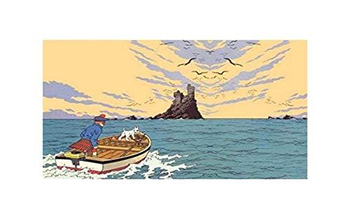 ZGPTOP Rompecabezas Rompecabezas de Madera de Las Aventuras de Puzzles con Marco de descompresión Juguetes de Tintín Hijos Adultos, 300/500/1000/1500 Pieces, 2 Estilos (Color : A, Size : 500P)