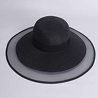 LONLLWK Sombrero para El Sol Elegante Negro Blanco Sol Sombrero De Playa Red Ancha Gran ala Grandes Mujeres Sombreros De Paja De Verano Protección UV Sombreros De Sol