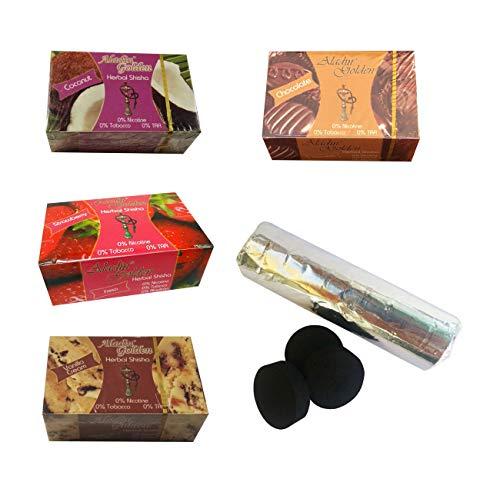 Outletdelocio. Set met 4 shisha-gras voor shisha-smaak, aardbeien, vanille, chocolade en kokokos + shisha-kolen tabs 58324