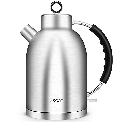Kettles-Electric-Water-Tea-Kettle, ASCOT Tea Heater & Hot Water Boiler, 1.7QT, 1500W, Stainless Steel, BPA-Free, Cordless, Automatic Shutoff, Boil-Dry Protection, Silver