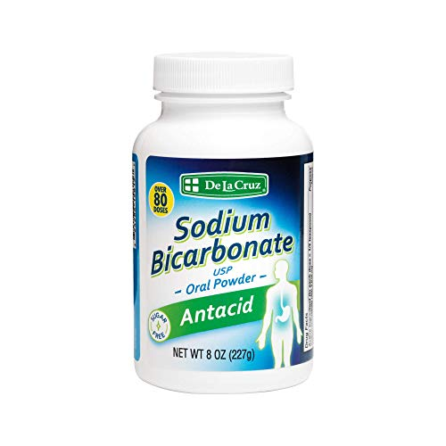 De La Cruz Pure Sodium Bicarbonate - USP Grade Bicarbonate of Soda – 100% Pure Baking Soda – Aluminum Free Antacid Powder for Heartburn & Indigestion - Packed in USA, 8 OZ.