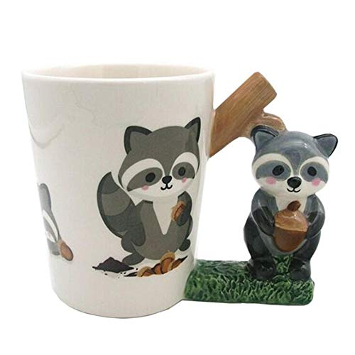 LIUTIAN Taza del Mapache 3D, Pintado a Mano Taza Animal, Taza de los Pares de cerámica, Regalo Sorpresa, de Gran Capacidad