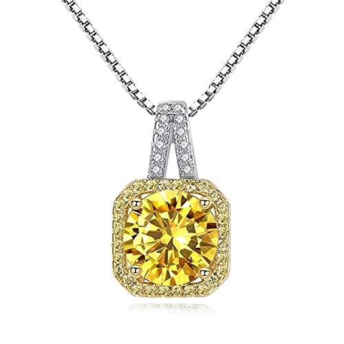 ZIYUYANG, collar con colgante, circonita dorada, diamante cuadrado, colgante femenino, collar, cadena de clavícula, joyería exquisita