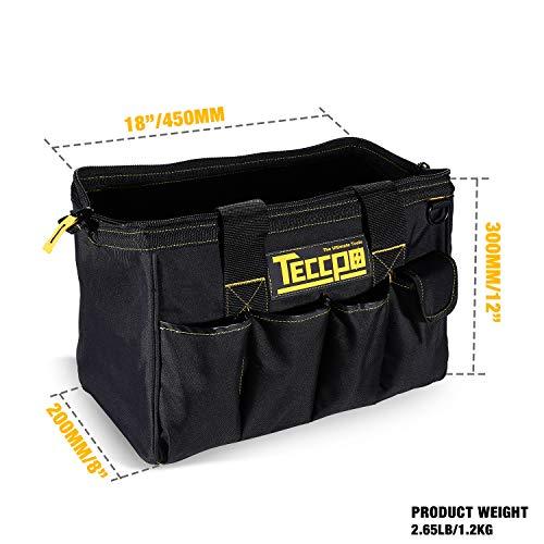 Sac Outils, TECCPO Boîte à Outils Textile, Stockage Fort avec Base, Bandoulière Réglable, Poignées en Caoutchouc, Sac à Large Ouverture - THTB01B