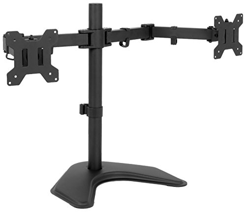 VIVO Full Motion Dual Monitor Free-Standing Desk Stand VESA Mount, Double Joints | Holds 2 Screens up to 32 inches (STAND-V102K)