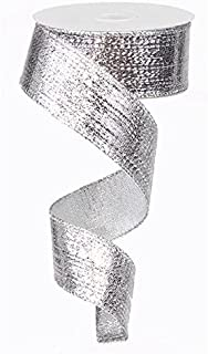 Silver Metallic Lame Wired Ribbon (1.5 Inches x 10 Yards) : RG0139926
