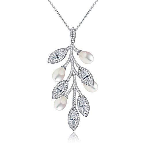 Yazilind Silber Überzogene Blatt Anhänger Zirkonia Halskette mit Perle für Elegante Frauen Hochzeit Geburtstag Schmuck