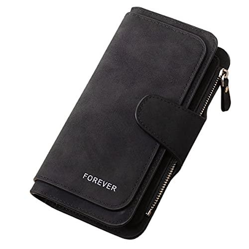 ACEHE Pcwomen Wallet, Creative Zipper Multi-Card Cartera para Mujer Paquete de Cuero Lindo Cartera Corta Informal para Mujer Carteras prácticas (Negro)