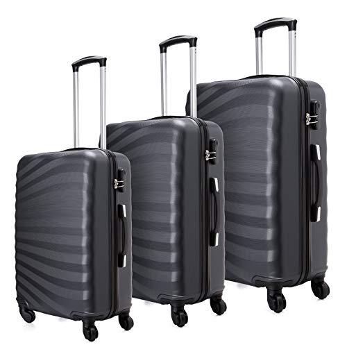 Toctoto Set di valigie Leggera Valigetta con guscio rigido Shell 3 Piece (20' 24' 28') (Nero)