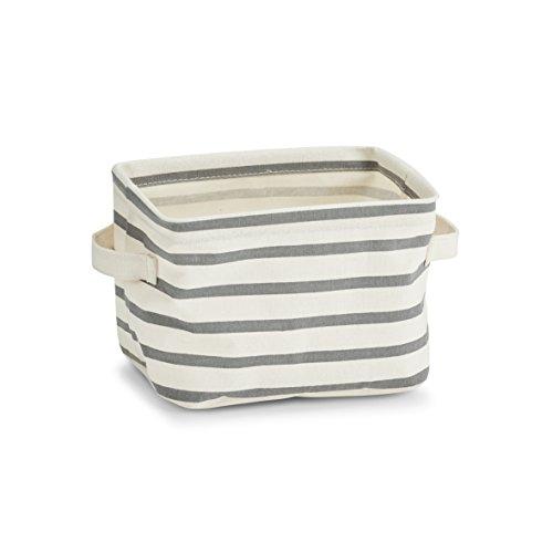"Zeller 14256 Aufbewahrungskorb ""Stripes"", Canvas, grau, ca. 21 x 17 x 14 cm"