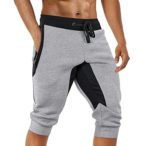 TOTNMC 3/4 Gym Shorts for Men Jogger Capri Pants Slim Fit Lightweight Mens Sweatpants Below Knee Light Grey