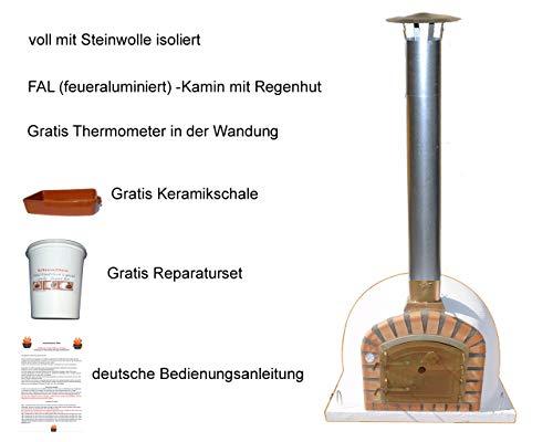 Impexfire Holzbefeuerter Pizzaofen Lissabon, Steinbackofen, Holzbackofen 100cm inkl. Kamin und Regenhut